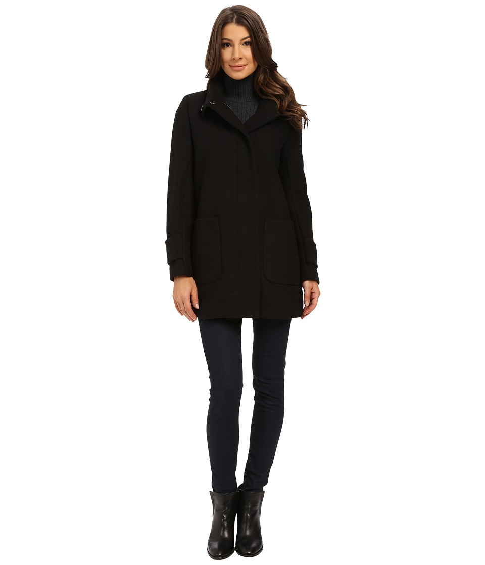 Kenneth Cole New York - Funnel Neck Zip Front Wool Coat (Black) Women