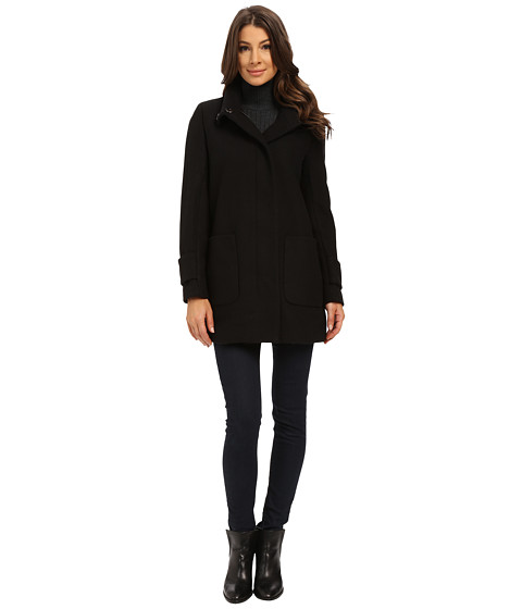 Kenneth Cole New York - Funnel Neck Zip Front Wool Coat (Black) Women's Coat