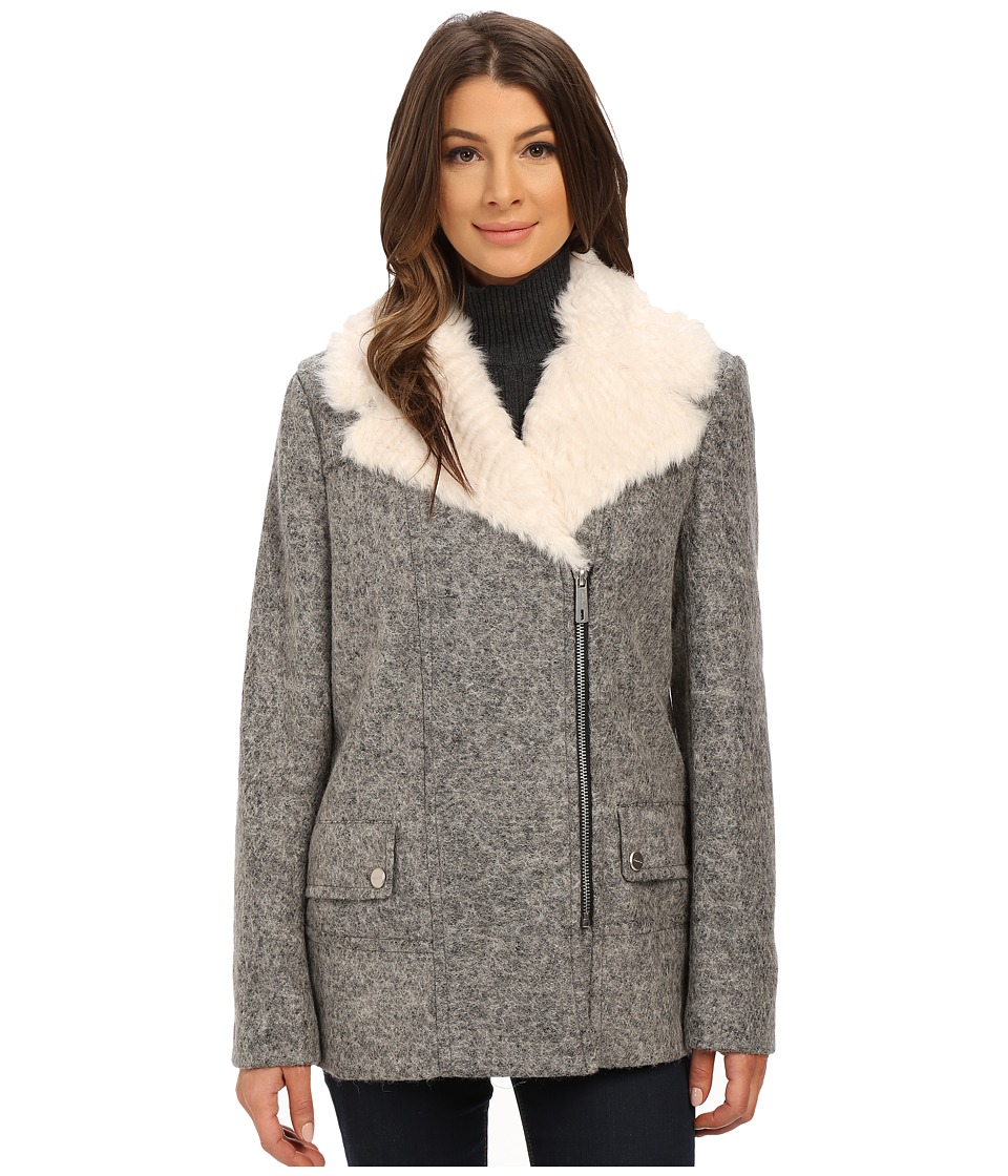Kenneth Cole New York - Novelty Wool Coat with Faux Fur (Grey) Women's Coat