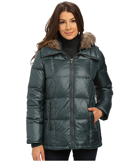 Kenneth Cole New York - Cheveron Quilt Down Jacket with Faux Fur Trim Hood (Spruce) Women
