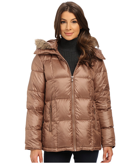 Kenneth Cole New York - Cheveron Quilt Down Jacket with Faux Fur Trim Hood (Caramel) Women