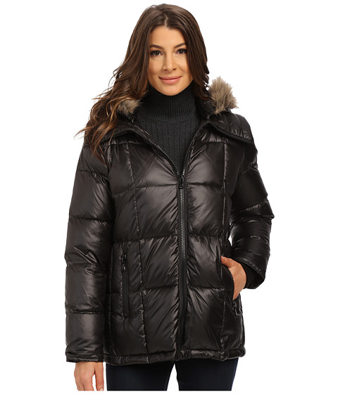 Kenneth Cole New York - Cheveron Quilt Down Jacket with Faux Fur Trim Hood (Black) Women