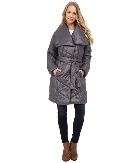 Kenneth Cole New York - Faux Down Coat with Evelope Collar (Gray) Women's Coat