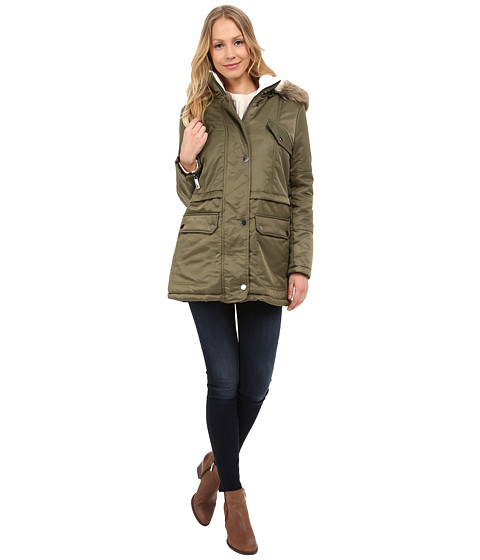 Kenneth Cole New York - Hooded Parka with Faux Fur Trim Sherpa Lining (Olive) Women's Coat