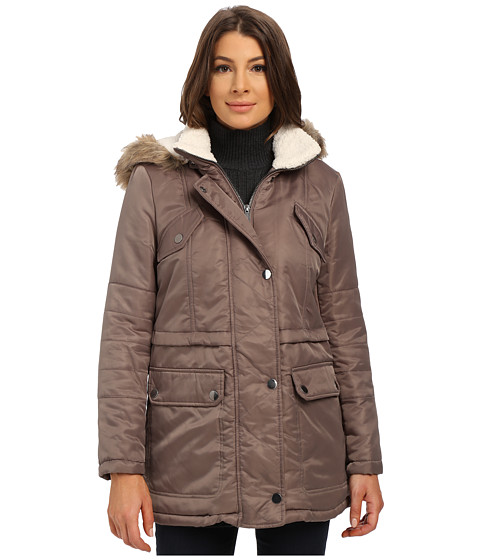 Kenneth Cole New York - Hooded Parka with Faux Fur Trim Sherpa Lining (Mushroom) Women's Coat