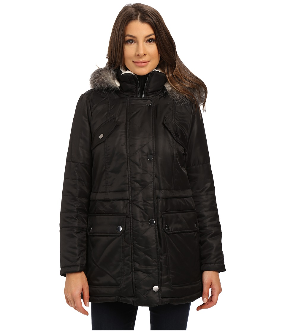 Kenneth Cole New York - Hooded Parka with Faux Fur Trim Sherpa Lining (Black) Women's Coat