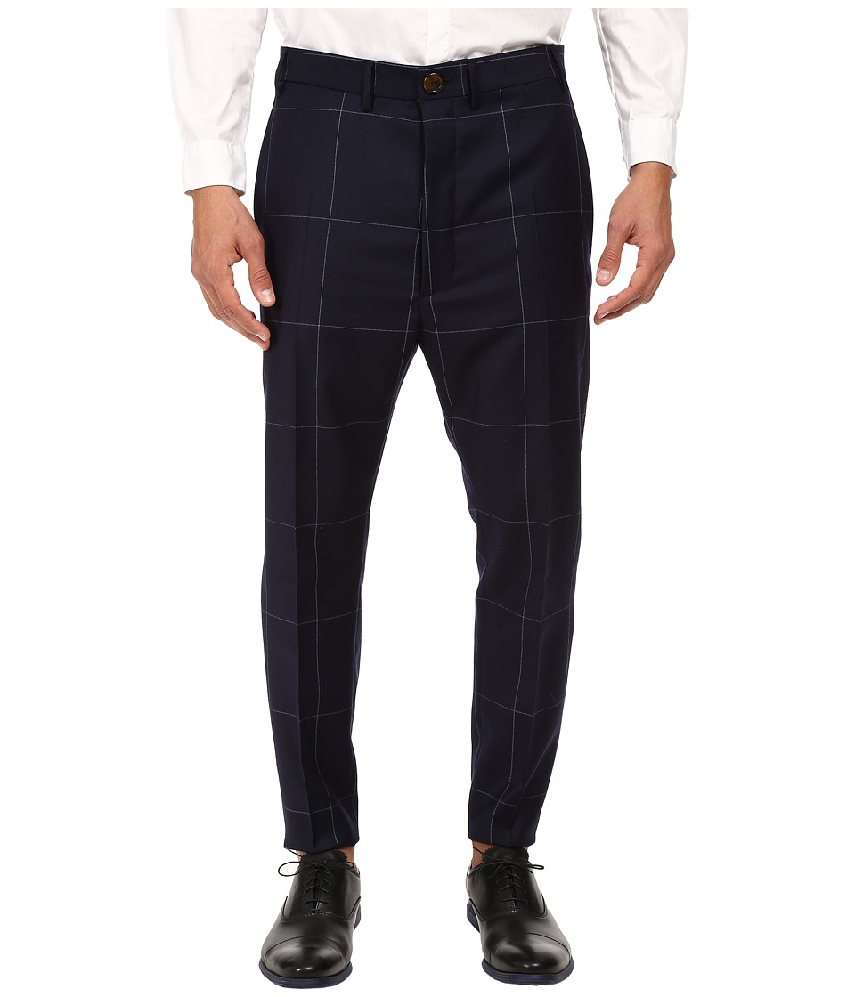 Vivienne Westwood - Window Pane Trousers (Navy) Men's Casual Pants