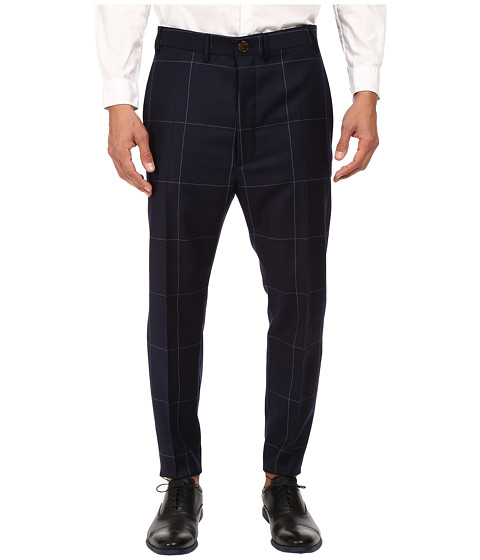 Vivienne Westwood MAN - Window Pane Trousers (Navy) Men's Casual Pants