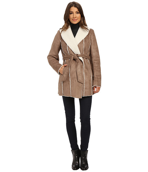 Kenneth Cole New York - Faux Shearling Coat (Sand) Women