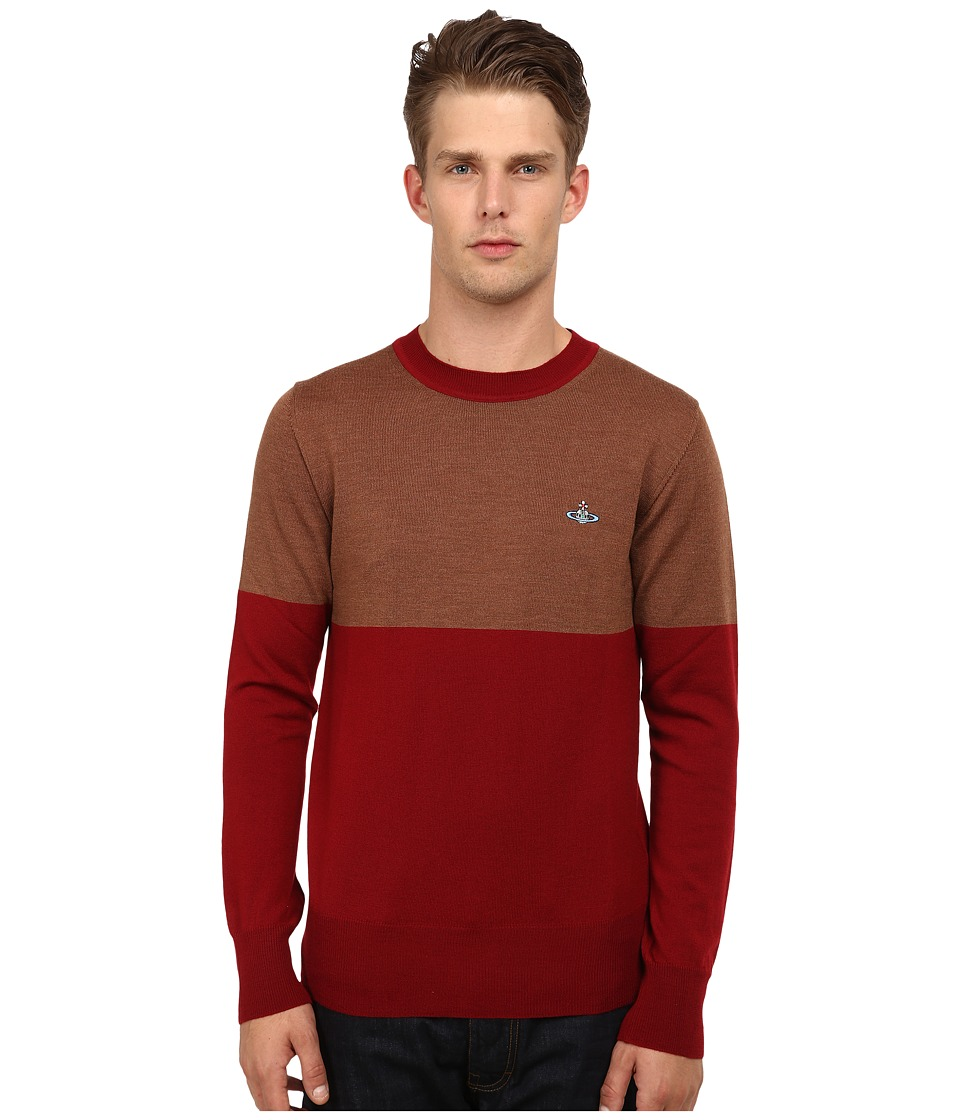 Vivienne Westwood MAN - Color Block Pullover (Beige/Red) Men's Sweater