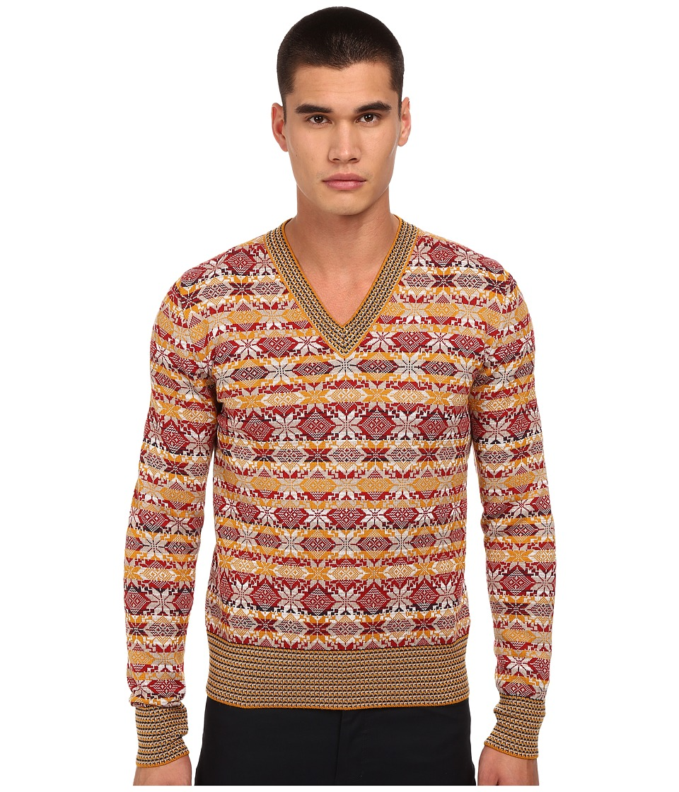 Vivienne Westwood - Fair Isle V-Neck Pullover (Multi) Men's Sweater