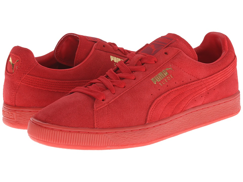 PUMA - The Suede Classic+ Mono Iced (High Risk Red/Team Gold) Men's Shoes