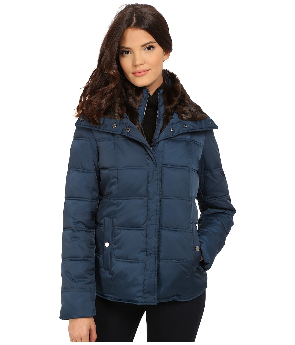 Kenneth Cole New York - Down Jacket with Faux Fur Trim (Peacock) Women