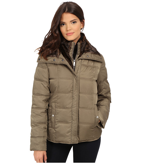 Kenneth Cole New York - Down Jacket with Faux Fur Trim (Olive) Women