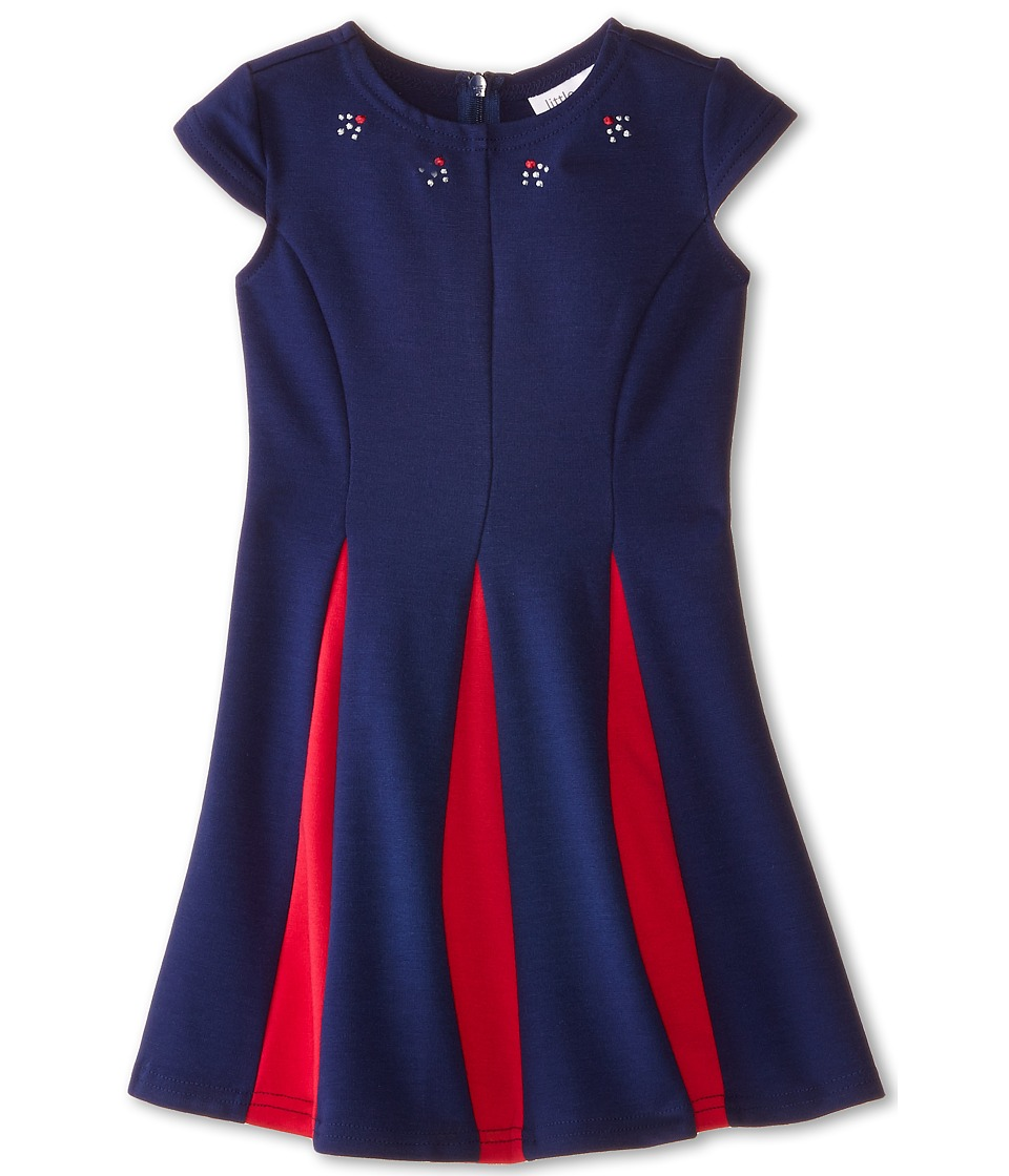 Us Angels - Ponte Cap Sleeve Fit Flair w/ Contrast Pleat (Toddler) (Navy) Girl's Dress