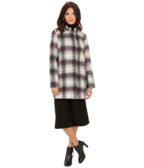 Kenneth Cole New York - Novelty Plaid Wool Coat (Cream) Women