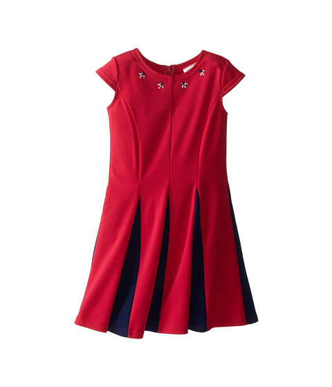 Us Angels - Ponte Cap Sleeve Fit Flair w/ Contrast Pleat (Little Kids) (Berry) Girl