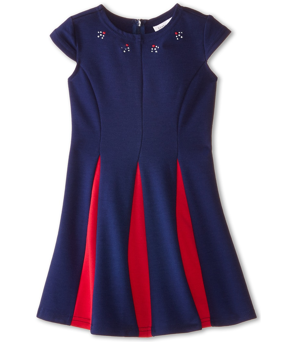 Us Angels - Ponte Cap Sleeve Fit Flair w/ Contrast Pleat (Little Kids) (Navy) Girl's Dress