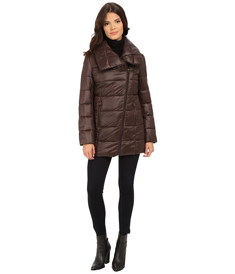 Kenneth Cole New York - Asymmetrical Packable Faux Down Coat (Chocolate) Women