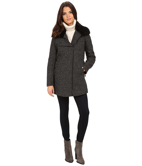 Kenneth Cole New York - Novelty Wool with Faux Fur Collar (Black) Women