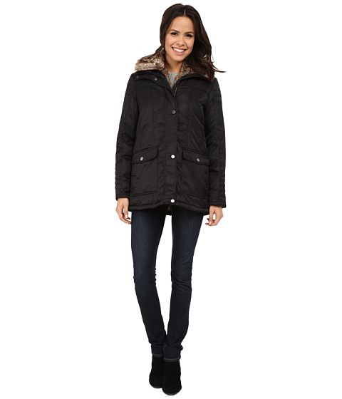 Kenneth Cole New York - Zip Front Jacket with Removable Faux Fur (Black) Women's Coat