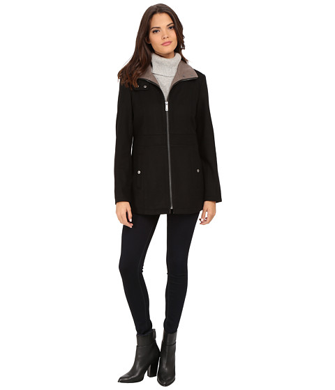 Kenneth Cole New York - Zip Front Two-Tone Wool Coat with Side Seaming (Black) Women's Coat