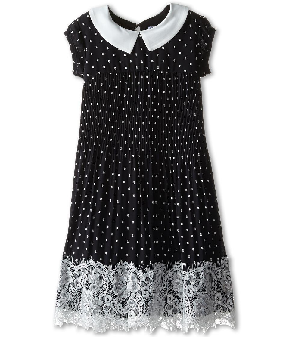 Us Angels - Clip Dot Chiffon Cap Sleeve Dress w/ Pleated Skirt Lace Trim (Little Kids) (Black) Girl