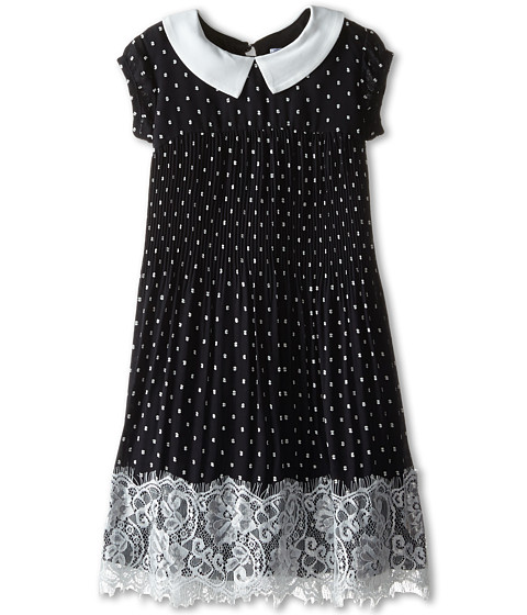 Us Angels - Clip Dot Chiffon Cap Sleeve Dress w/ Pleated Skirt Lace Trim (Little Kids) (Black) Girl