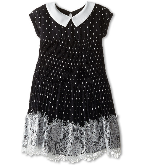 Us Angels - Clip Dot Chiffon Cap Sleeve Dress w/ Pleated Skirt Lace Trim (Toddler) (Black) Girl
