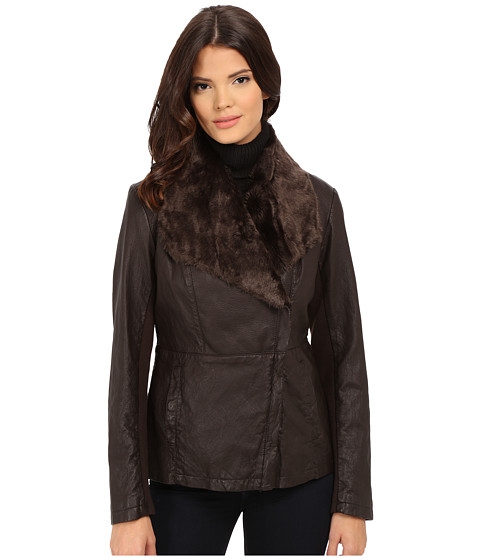 Kenneth Cole New York - Faux Leather Jacket with Faux Fur Collar (Brown) Women's Coat