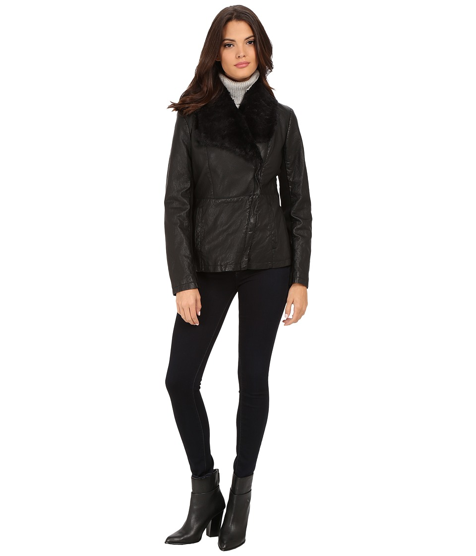 Kenneth Cole New York - Faux Leather Jacket with Faux Fur Collar (Black) Women's Coat