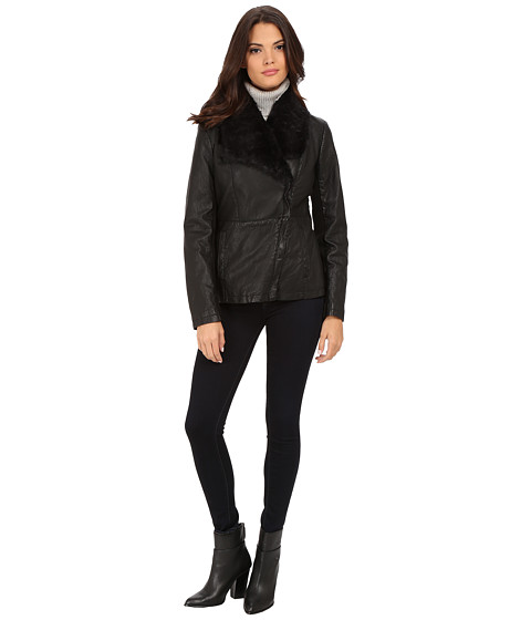 Kenneth Cole New York - Faux Leather Jacket with Faux Fur Collar (Black) Women