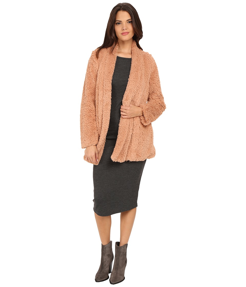 Kenneth Cole New York - Faux Fur Oversized Blazer Coat (Blush) Women's Coat