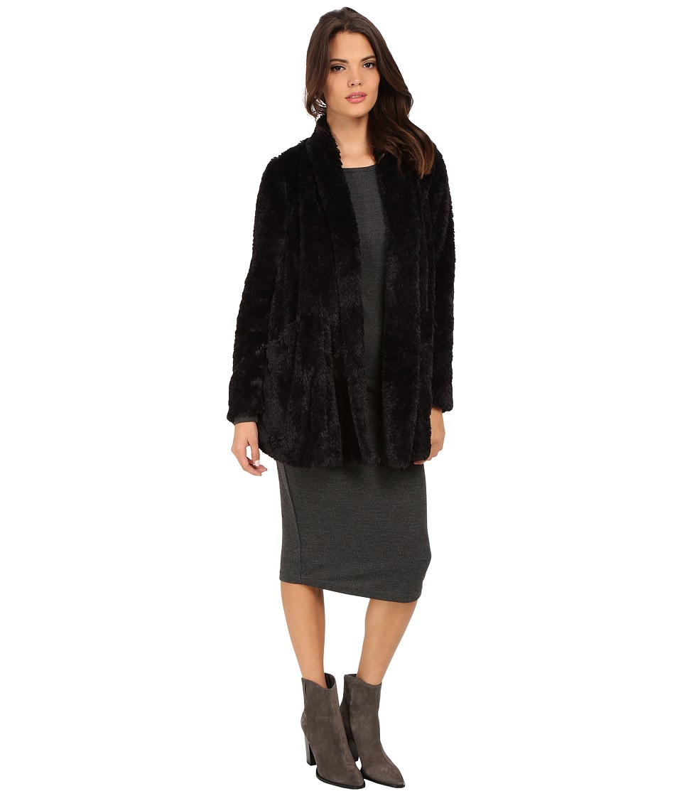 Kenneth Cole New York - Faux Fur Oversized Blazer Coat (Black) Women's Coat
