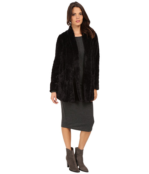Kenneth Cole New York - Faux Fur Oversized Blazer Coat (Black) Women