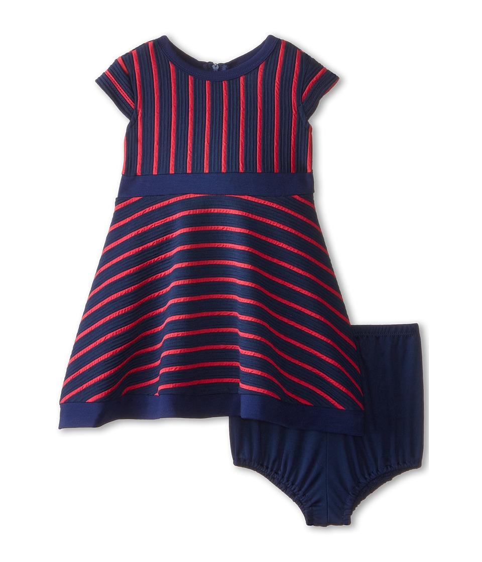 Us Angels - Striped Ottoman Cap Sleeve w/ Full Skirt Color Block Hem (Infant) (Berry) Girl's Dress