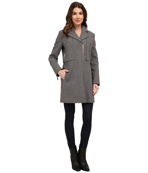 Kenneth Cole New York - Asymmetrical Zip Front Twill Wool Coat (Ash) Women