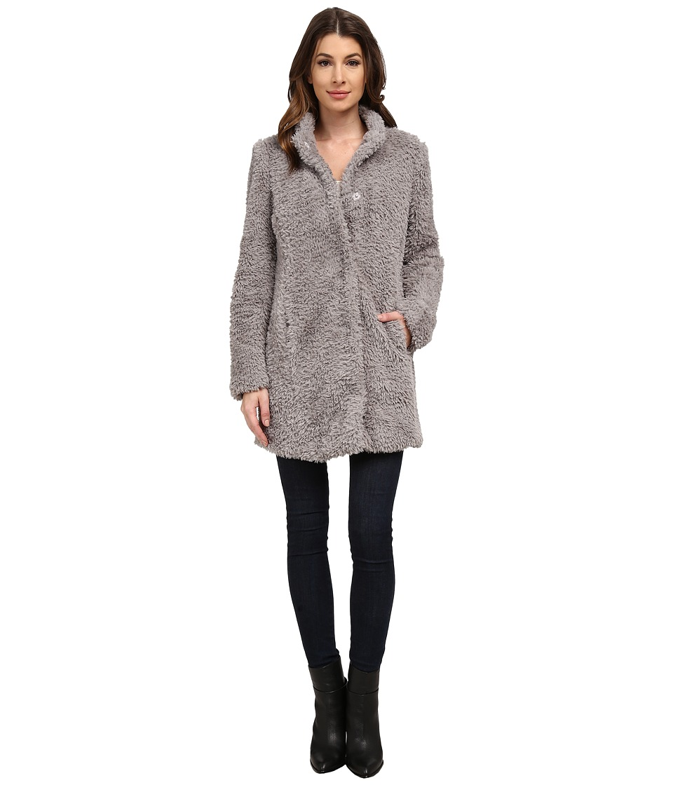 Kenneth Cole New York - Faux Fur Teddy Coat (Pale Grey) Women's Coat