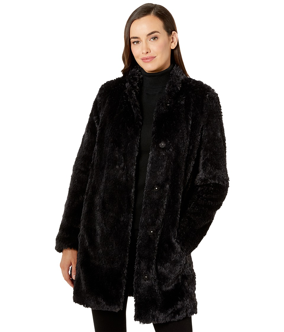 Kenneth Cole New York - Faux Fur Teddy Coat (Black) Women's Coat