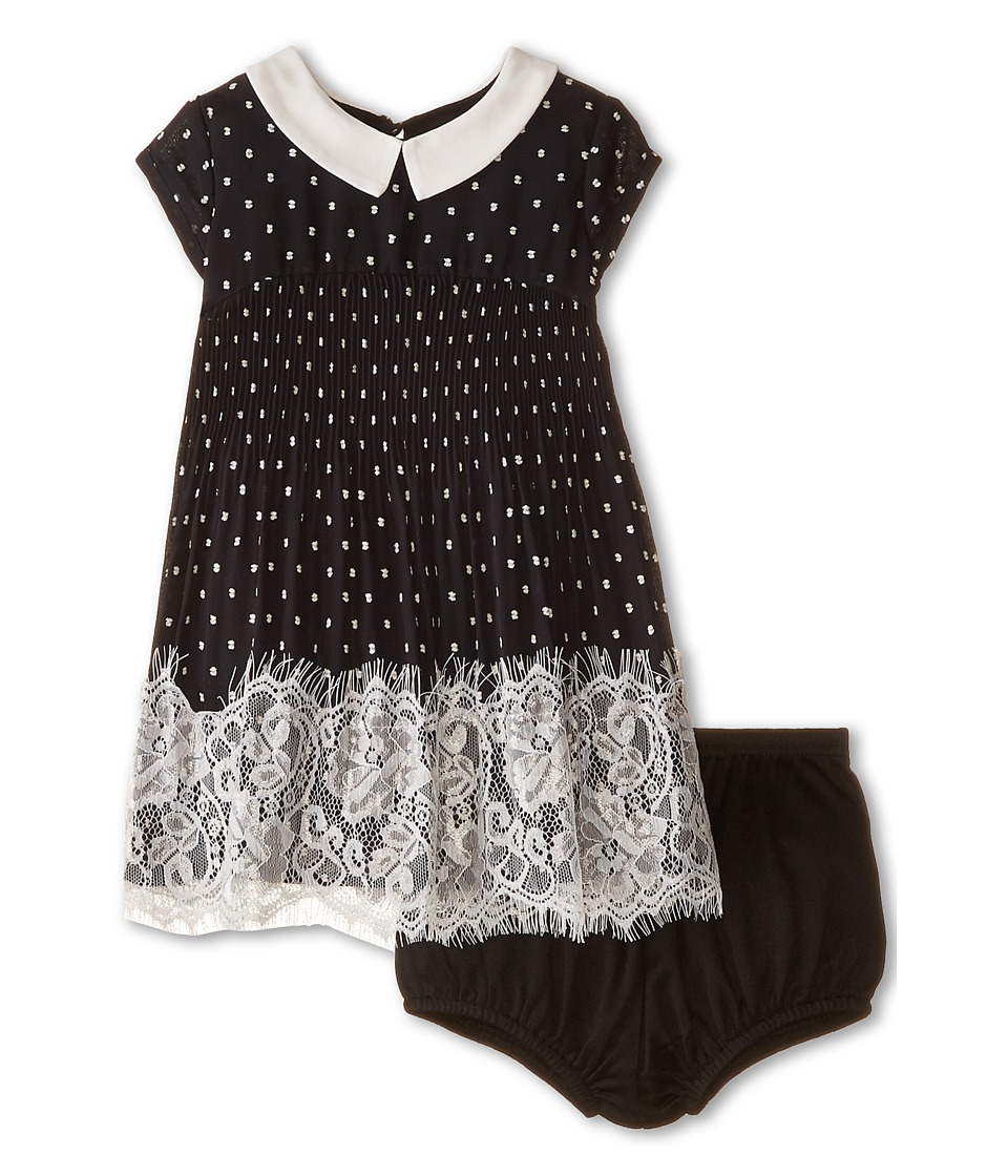 Us Angels - Clip Dot Chiffon Cap Sleeve Emplire w/ Pleated Skirt Lace Trim (Infant) (Black) Girl