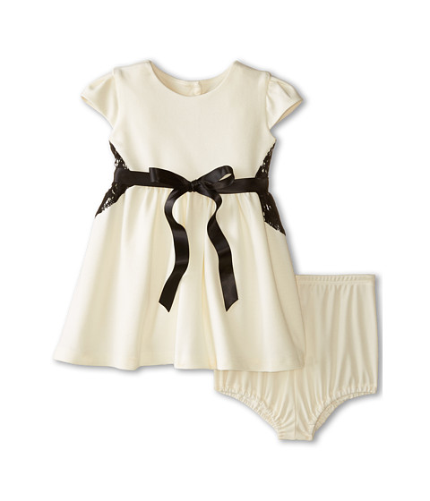 Us Angels - Ponte Cap Sleeve w/ Lace Inset Belt Full Skirt (Infant) (Cr me) Girl