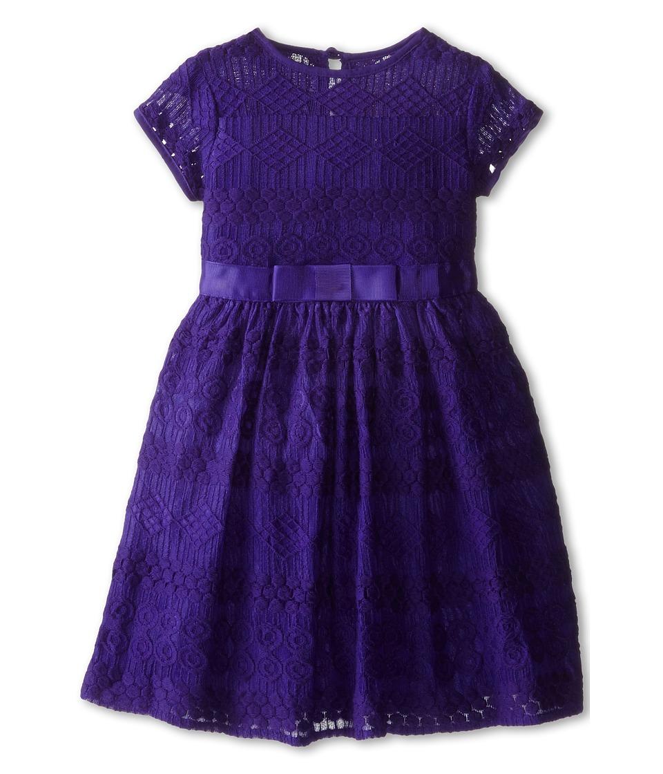 Us Angels - Geo Lace Cap Sleeve Illusion w/ Belt Full Skirt (Toddler) (Eggplant) Girl