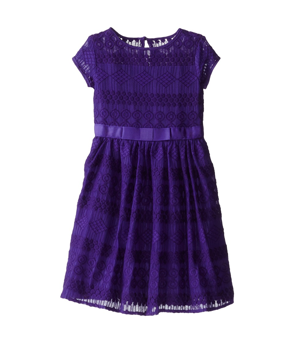 Us Angels - Geo Lace Cap Sleeve Illusion w/ Belt Full Skirt (Little Kids) (Eggplant) Girl's Dress