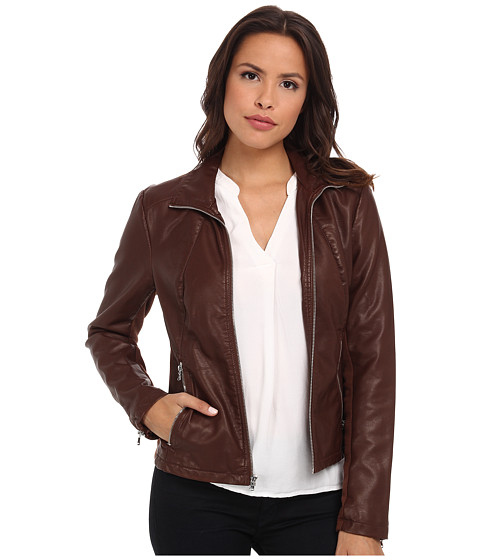 Kenneth Cole New York - Faux Leather Zip Front with Knit Trim (Whiskey) Women