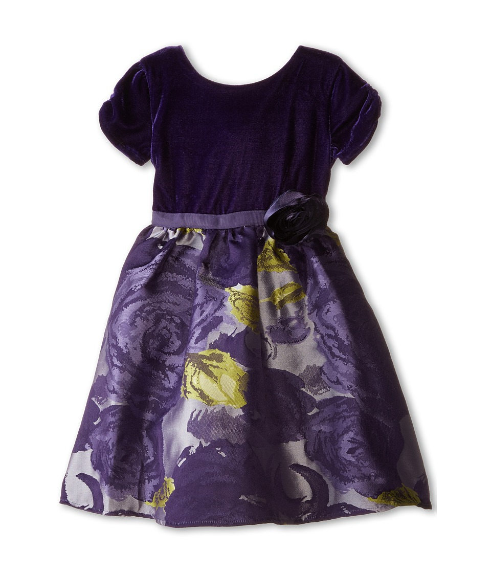 Us Angels - Velvet/Brocade Cap Sleeve w/ Flower Full Skirt (Toddler) (Eggplant) Girl's Dress