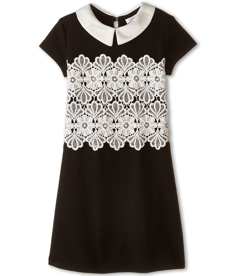 Us Angels - Ponte Cap Sleeve w/ Lace Overlay Sheath (Little Kids) (Black) Girl's Dress