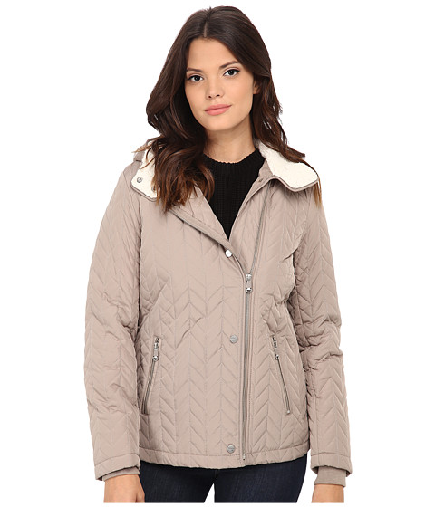 Kenneth Cole New York - Quilted Asymmetrical Jacket (Sand) Women's Coat