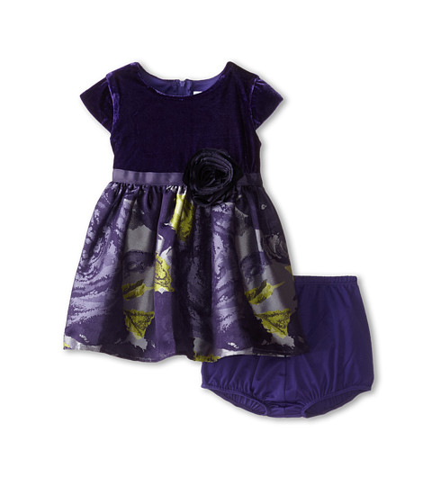 Us Angels - Velvet/Brocade Cap Sleeve w/ Flower Full Skirt (Infant) (Eggplant) Girl