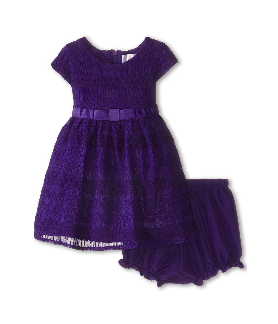 Us Angels - Geo Lace Cap Sleeve w/ Bow Belt Full Skirt (Infant) (Eggplant) Girl