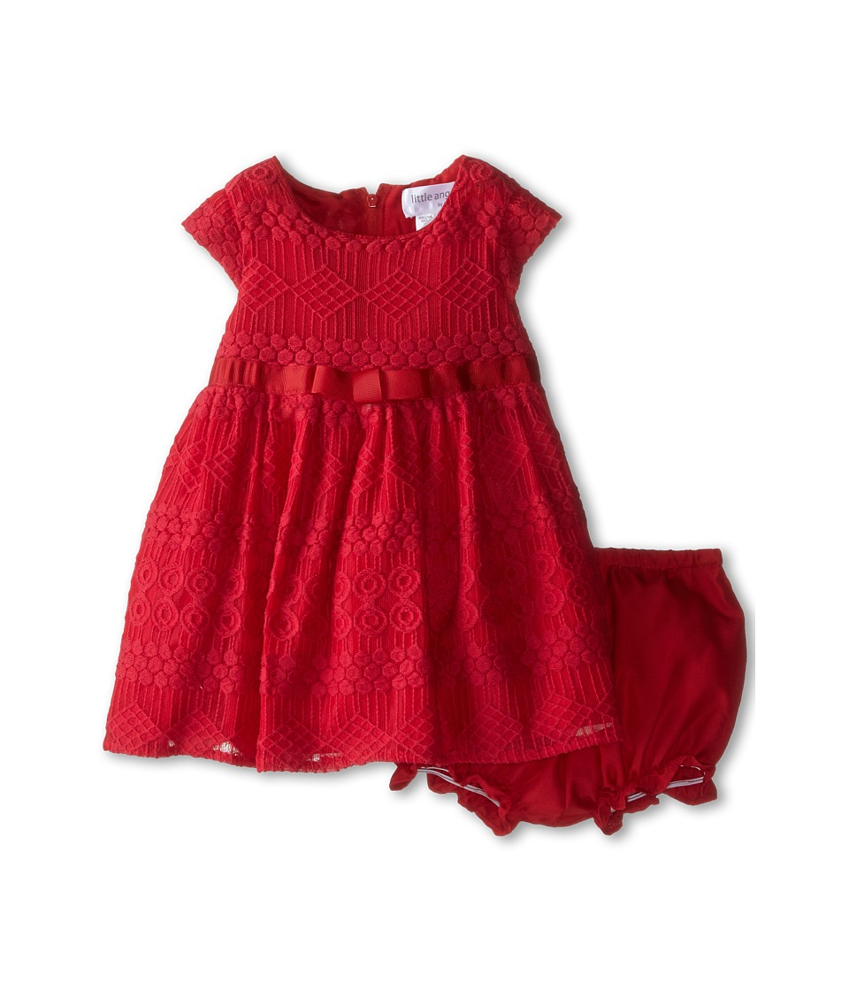 Us Angels - Geo Lace Cap Sleeve w/ Bow Belt Full Skirt (Infant) (Garnet) Girl